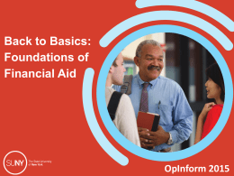 Basics: Foundations of Financial Aid (OpInform