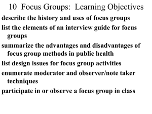 8 Focus Groups: Learning Objectives