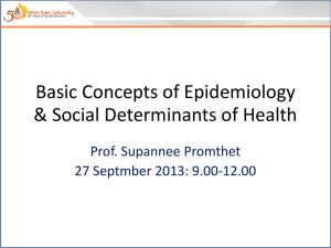 Basic Concepts of Epidemiology & Social Determinants of Health