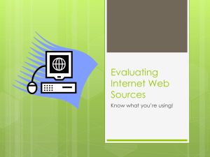 Evaluating Internet Web Sources - AJSmith