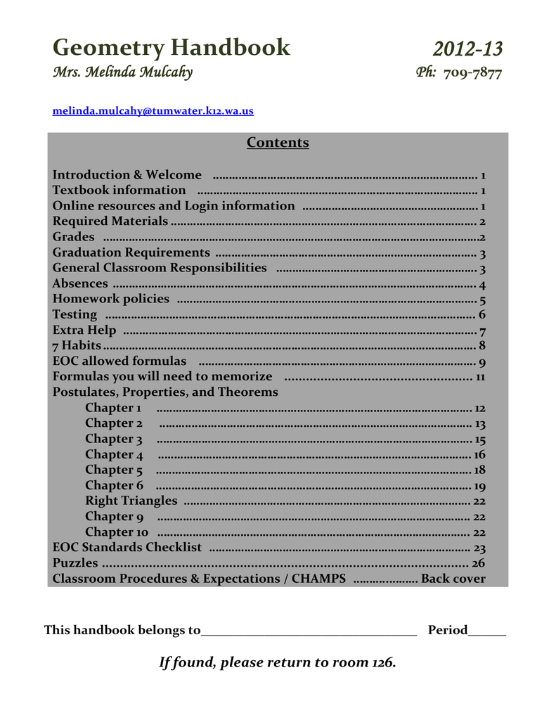 Geometry Handbook - Tumwater School District