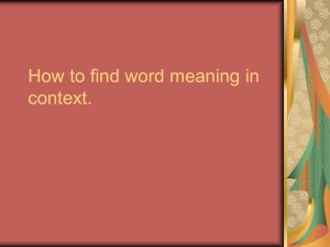 How to find word meaning in context.