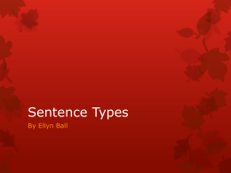 Senence Types - Lake County Schools