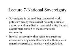 Lecture 15-National Sovereignty