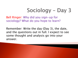 Sociology * Day 1 - West Ada School District