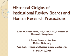 Historical Origins of Institutional Review Boards