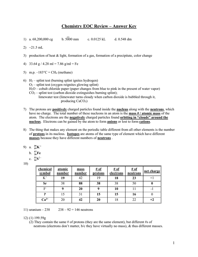 Chemistry Eoc Review Answer Key