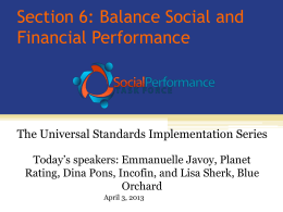 Section 6: Balance Social and Financial Performance