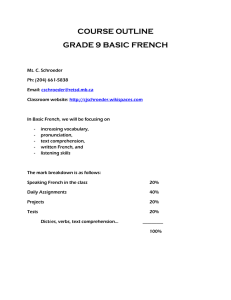 COURSE OUTLINE french - cjschroeder