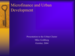 Microfinance in Urban Settings