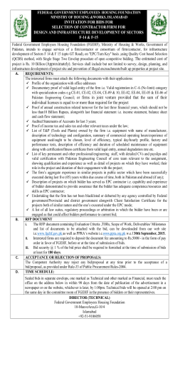 Invitation for Bids - Federal Government Employees Housing