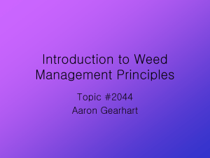 Introduction to Weed Management Principles