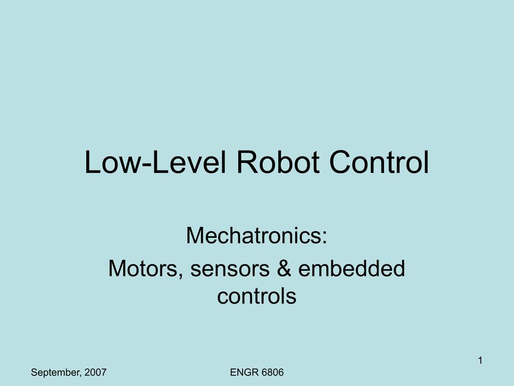 Low-Level Robot Control