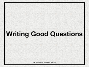 Writing Good Questions - NMSU College of Business