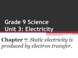 Grade 9 Science Unit 3: Electricity