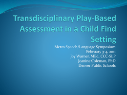 Transdisciplinary Play