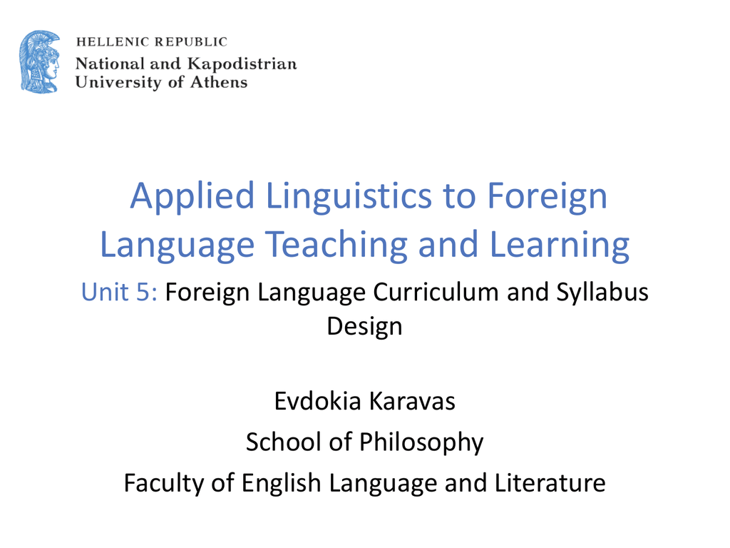 Foreign Language Curriculum and Syllabus Design (PPT)