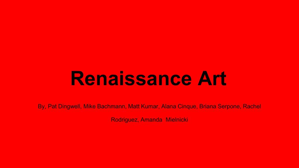 Renaissance Art - West Essex High School