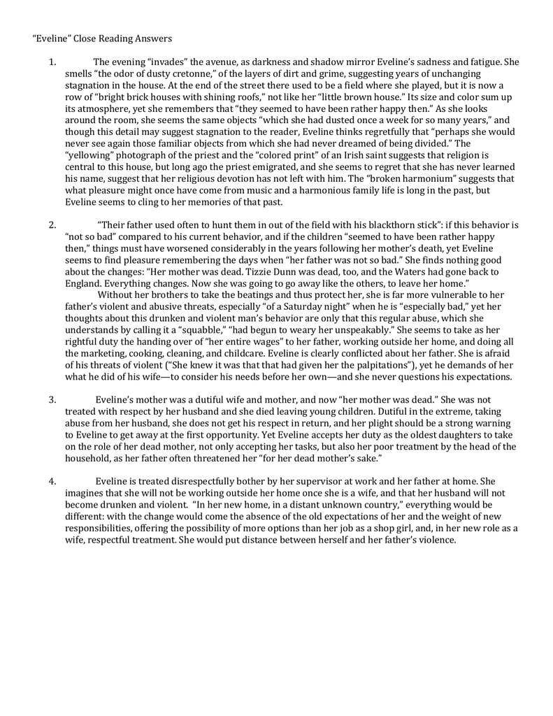 eveline joyce summary