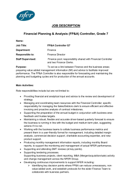 Financial Planning & Analysis (FP&A) Controller, Grade 7