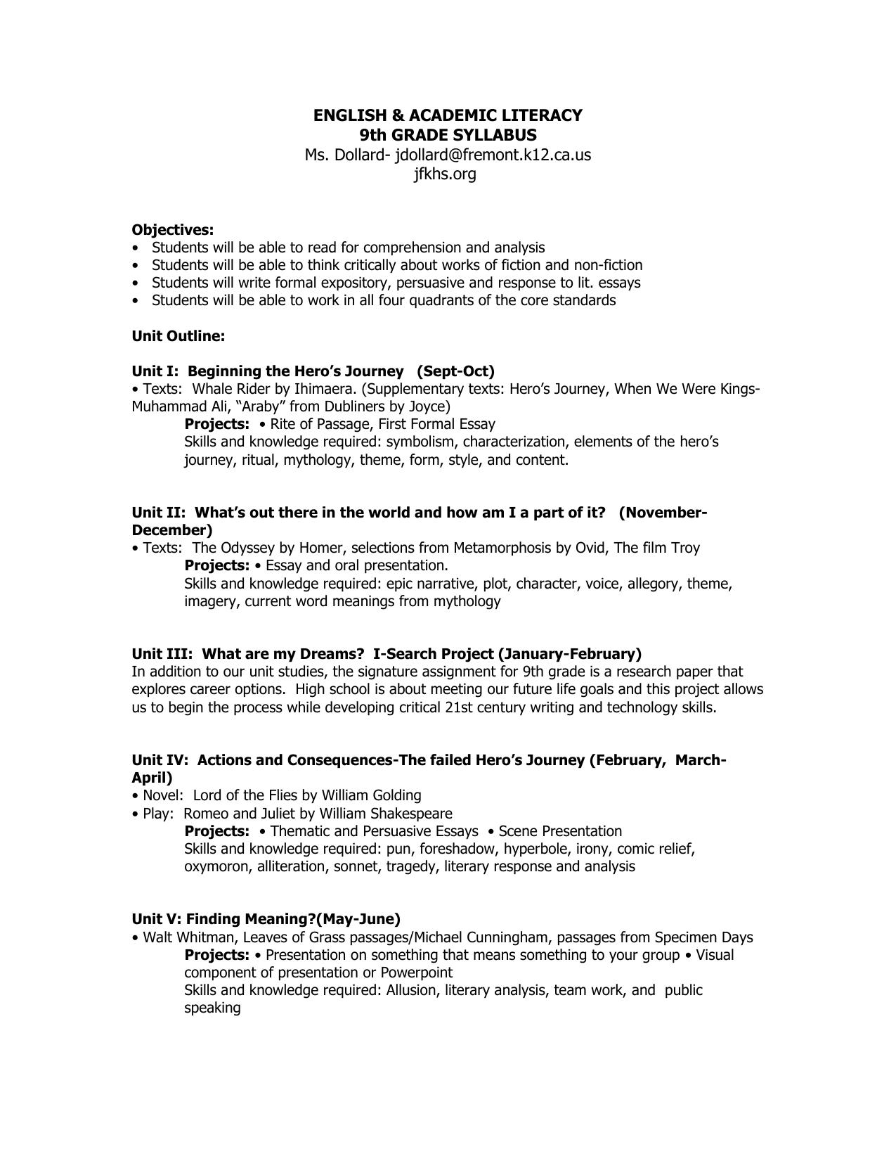 English 9 Syllabus