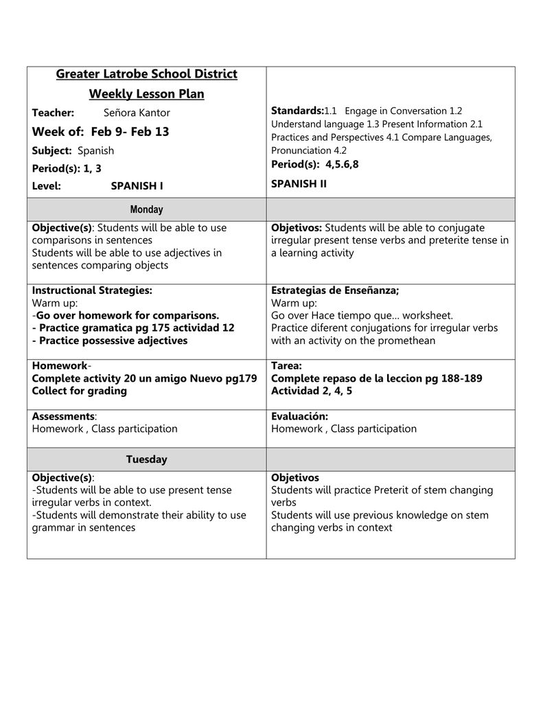 Worksheets Stem Changing Verbs Worksheet week of feb 9 greater latrobe school district