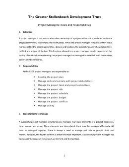 Project Managers: Roles and responsibilities