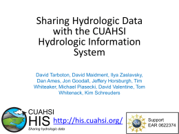 Sharing Hydrologic Data with the CUAHSI Hydrologic - CUAHSI-HIS