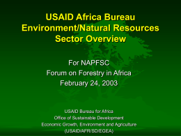 Overview from USAID (Carl Gallegos)