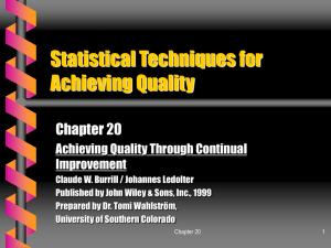 Statistical Techniques for Achieving Quality