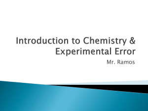 Introduction to Chemistry & Experimental Error