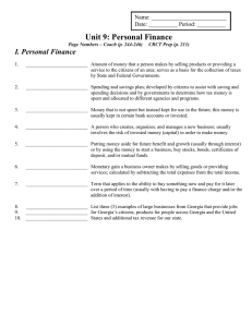 Unit 9 Almost There – Personal Finance – Study Guide