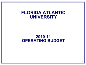 2010-11 Operating Budget Presentation to the FAU BOT