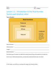 Name Date Math 7 Mrs. L Liddiard Lesson 1.1: Introduction to the