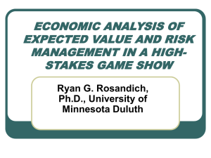 economic analysis of expected value and risk management in a high