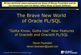 Best Practices for PL/SQL