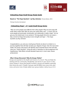 """Unleashing Hope""- A 7-week Small Group Series"