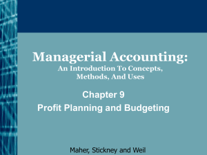 Managerial Accounting: An Introduction To Concepts, Methods, And