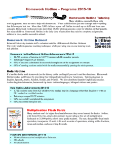 Homework Hotline – Programs 2015-16 Homework Hotline Tutoring