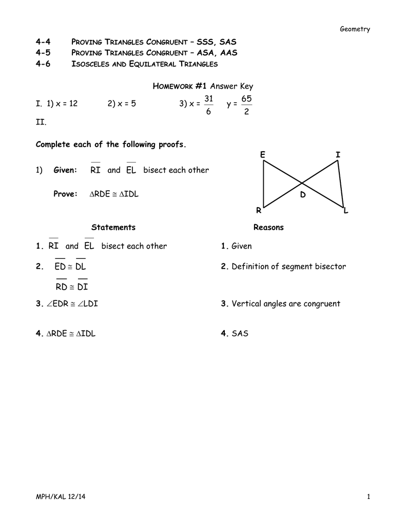 unit 4 congruent triangles homework 3 isosceles and equilateral triangles answers