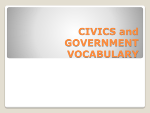 CIVICS and GOVERNMENT VOCABULARY