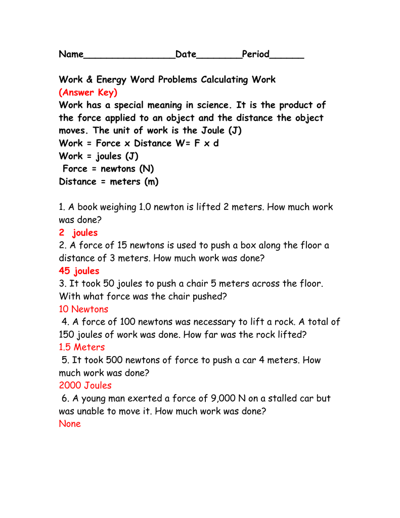 Calculating work worksheet(answer key)