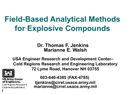 Field-Based Analytical Methods for Explosive Compounds - CLU-IN