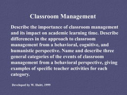 Classroom Management - Educational Psychology Interactive