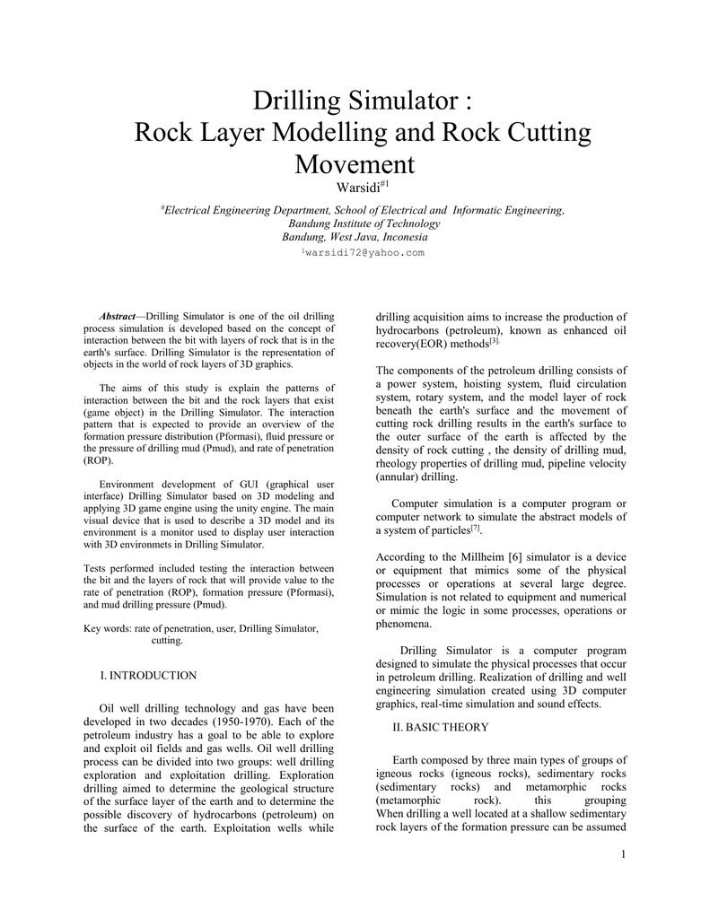 Drilling Simulator : Rock Layer Modelling and Rock Cutting