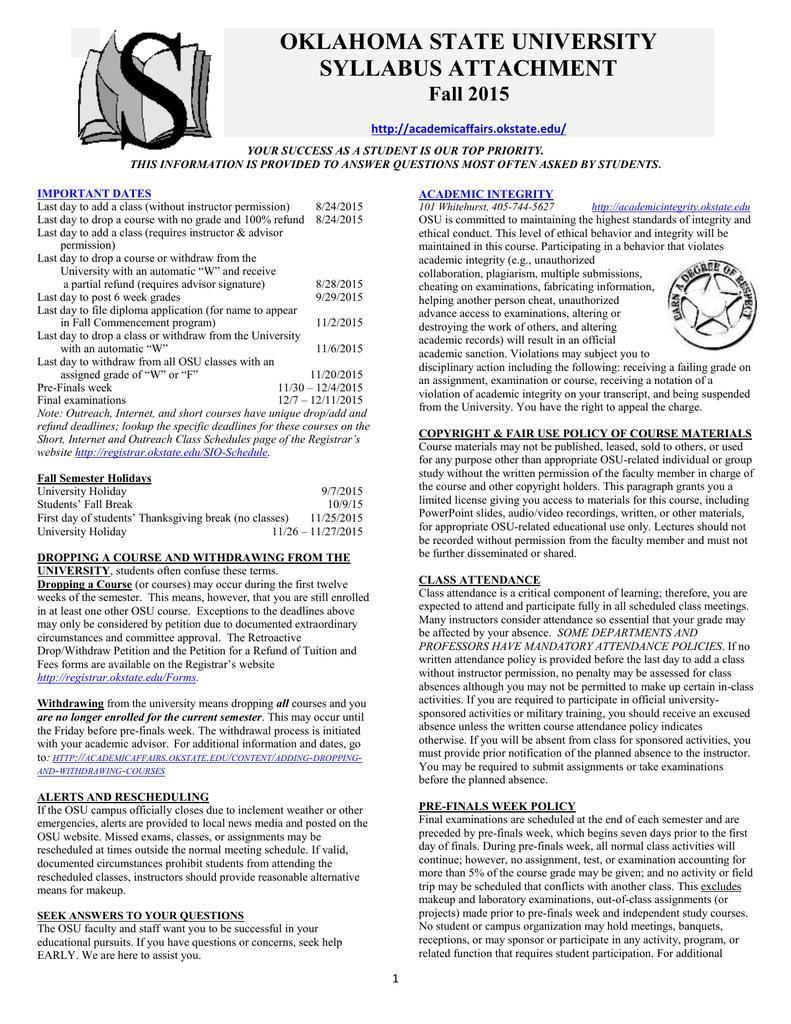 Fall - Academic Affairs - Oklahoma State University