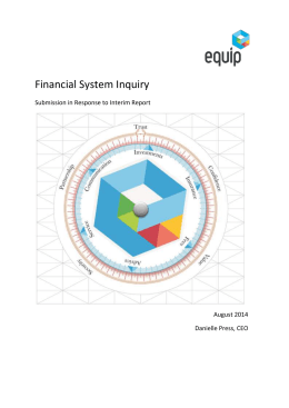 Equip - Submission to the Financial System Inquiry. Issues set out in