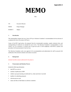 Recommendation for the Selection of a Contractor Memo Template