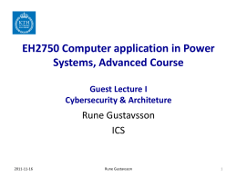 EH2750 Computer application in Power Systems, Advanced