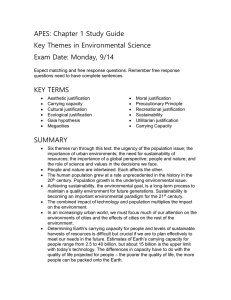 APES: Chapter 1 Study Guide Key Themes in Environmental